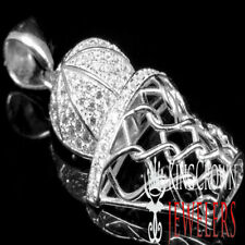 New White Gold Plated Real Sterling Silver Mini Basket Ball Net Charm Pendant