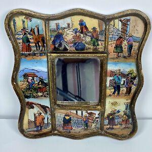 Vintage Peruvian Wall Art Mirror Painted Peru Village People Framed Glass Wood