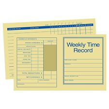 "Pocket Size Weekly Time Cards (250 pk) Size: 7"" x 4 1/4"""
