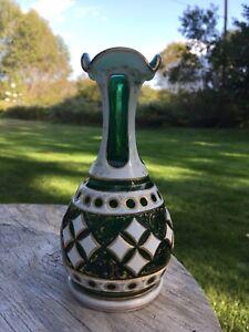 Czech Bohemian Cased Glass Vase White Overlay Cut To Green Moser Josephinenhutte