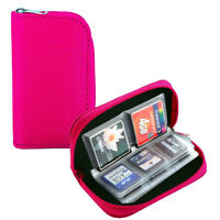 22 Slots Memory Card Carrying Case Holder Pouch for SD SDHC MMC Micro SD - Pink