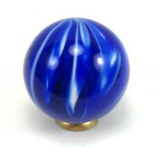 "CONTEMPORARY MARBLE ONIONSKIN SLAG 1 1/2"" LOBED COBALT BLUE GLASS EXCELLENT MINT"
