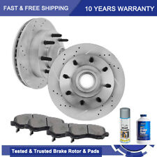 Front Brake Disc Rotors And Metallic Pads For 1994 Ford E250 E350 Econoline