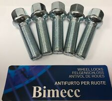 Black Locking Wheel Bolts 14x1.5 Nuts for Seat Alhambra 10-15 Mk2