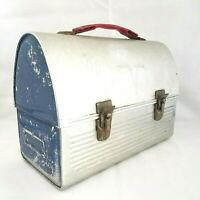 Vtg THERMOS Brand Silver Aluminum Domed Miners Work Lunch Box Pail 60s V Victory