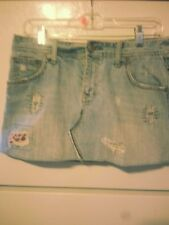 American Eagle Outfitters Distressed Bleached Jean Mini Skirt Size 8 Light Wash
