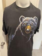 Vintage 1995 Harlequinn Ontario Black Bear Mens Single Stitch Nature T Shirt L