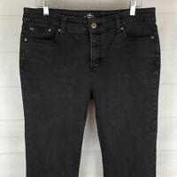St. John's Bay womens size 14L long stretch black gray straight leg jeans EUC