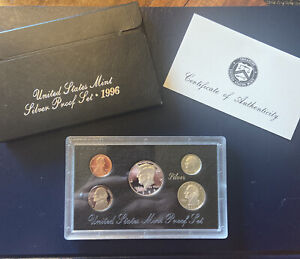 1996 US Mint Silver Proof Set with box and COA