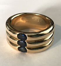 Authentic CARTIER Triple Ellipse Ring 3 Sapphires 18K Yellow Gold Size 54