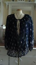 FREE PEOPLE BOHO HIPPY PUFFY SLEEVE FLORAL BLOUSE SZ S