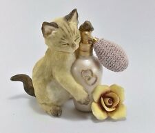 "Realistic naughty cat figurine playing perfume bottle & rose size L 4.5"" X H 3.3"