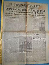 WW1 09/12/1911 IL GIORNALE D'ITALIA Monito di Giulio De Frenzi da Tripoli - 231