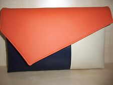 OVER SIZED COLOUR BLOCK,  ORANGE, NAVY BLUE & CREAM faux leather clutch bag.