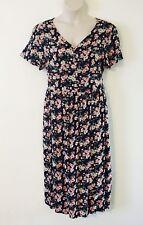 PLUS SIZE 16 - 18 ~ Pretty Vintage Black & Pink Floral Sun Dress ~ Festival Boho