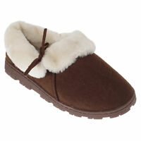 SlumberzzZ Womens/Ladies Fleece Lined Slippers With Rubber Sole (SL691)