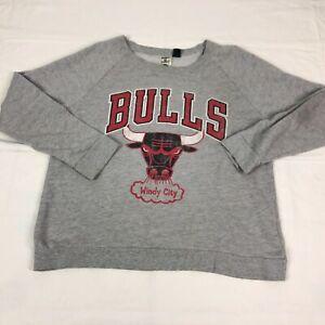Chicago Bulls Sweater Women Large Hardwood Classics Crewneck Pullover Windy City