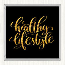 Black Gold Healthy Lifestyle Quote Drinks Mat Coaster