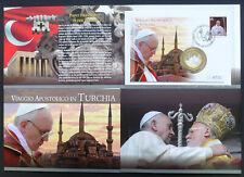 Vatikan Numisbrief / Medaillenbrief Papst Franziskus Türkei Reise 2014 im Folder