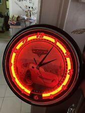 large Disney Pixar neon light up wall clock cars lighting Mcqueen