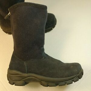 Lands End blue Boots Size 1 Kids youth winter zipper 92990 unisex sherpa lined