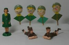 Vintage Girl Scout Brownies Figures Cake Cupcake Toppers 1950's Felt Plastic
