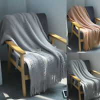 Cotton Tassels Blanket Knitted Bed Sofa Crochet Throw Arm Cover Home Decoration