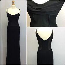 Max Mara Ladies Black Sheer Corset Cowl Neck Sequin Fishtail Maxi Dress Size 12