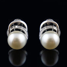 18k white Gold GF with Swarovski crystals pearls earrings