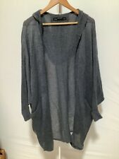 Womens All Saints Size S Grey Bat Wing Hooded Knitted Cardigan with Pockets