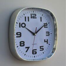 Wall Clock Chrome Kitchen School Office Home  Decor Quartz 30cm Indoor