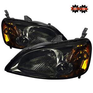 For 01-03 Honda Civic EM Smoked Headlights w/Amber Reflector 2/4 dr Coupe Sedan
