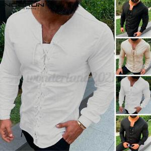 Medieval Retro Men's Long Sleeve T-shirt Shirt 100%Cotton Party Lace up Blouse