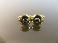 Fine Vintage 18k Yellow Gold Natural Blue Sapphire Cufflinks