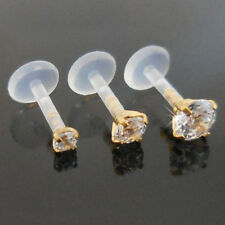 16G 6 or 8mm 2,3,4mm Gold Tone Clear BioPlast Helix Tragus Jewelry Earrings New