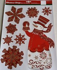 CHRISTMAS Window Clings  SNOWMAN With SNOWFLAKES HOLDING SNOW GLOBE