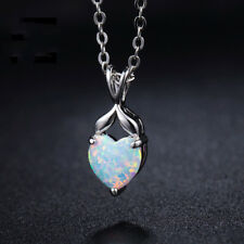 Special Mermaid Shaped White Fire Opal Gemstone Silver Necklace Pendants