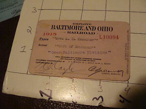 Original RAILROAD PASS: Baltimore & ohio B&O, 1915 for Wife of Brakeman
