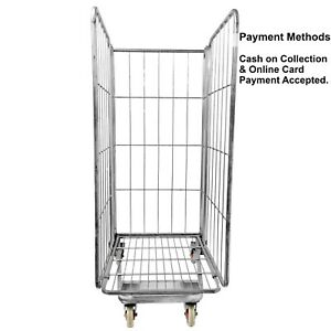 Roll Cage Warehouse Trolley 3 Sided Heavy Duty Large Storage With Wheels