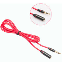3.5mm Red Male To Female M/F Plug Jack Stereo Audio Headphone Extension Cable