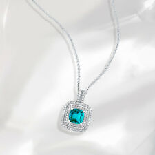 Samie Collection 2.78ctw CZ Halo Pendant Necklace in White Gold Plating