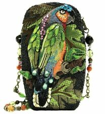 Mary Frances Chatterbox Bird Parrot Black Bead Bag Purse Handbag Green Ltd NEW