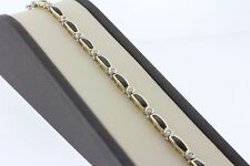 14K Solid Yellow Gold Alternating Diamond and Onyx Inlay Bracelet - 7""