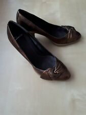 Clarks ladies metallic heeled shoes size 4 1A