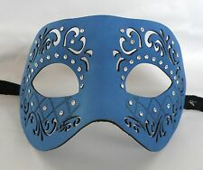 Blue Leatherette With Diamonte Venetian Masquerade Party Mask * NEW *