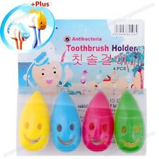 4pcs Smile Face Antibacterial Toothbrush Cover Holder with Suction Cup Bath