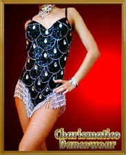 BLACK SILVER BURSESQUE SEQUIN LATIN LEOTARD DIVA DANCE Dress