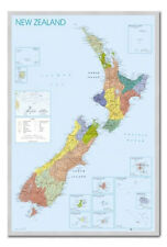 New Zealand Map Poster Silver Framed Ready To Hang Frame Free P&P