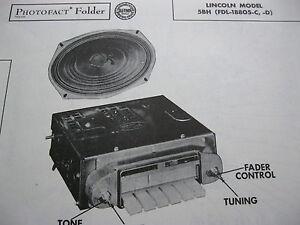 1955 LINCOLN COSMOPOLITAN, CAPRI 5BH RADIO PHOTOFACT