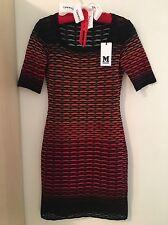 M MISSONI RED ORANGE RIB SQUARE NECK SWEATER DRESS - Sz 38, Orig $595, Auth, NWT